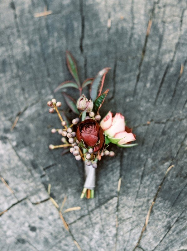 Blush and Burgundy Wedding Boutonniere