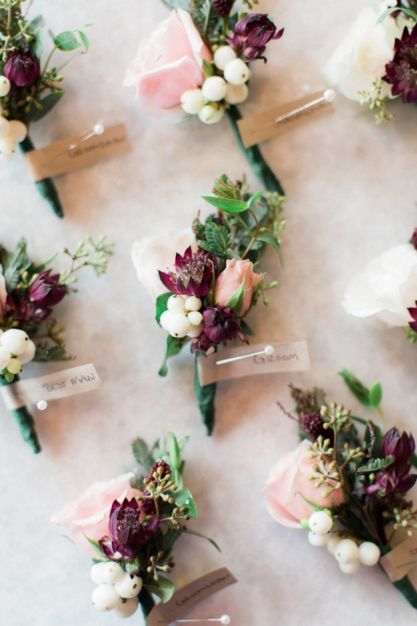 Blush, berry and ivory wedding boutonnieres
