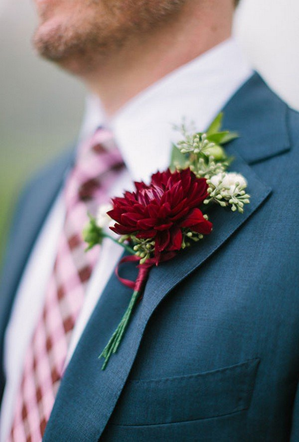 Burgundy Dahlia and Seeded Eucalyptus fall wedding boutonniere ideas