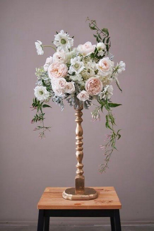 DIY gold candlestick wedding centerpiece
