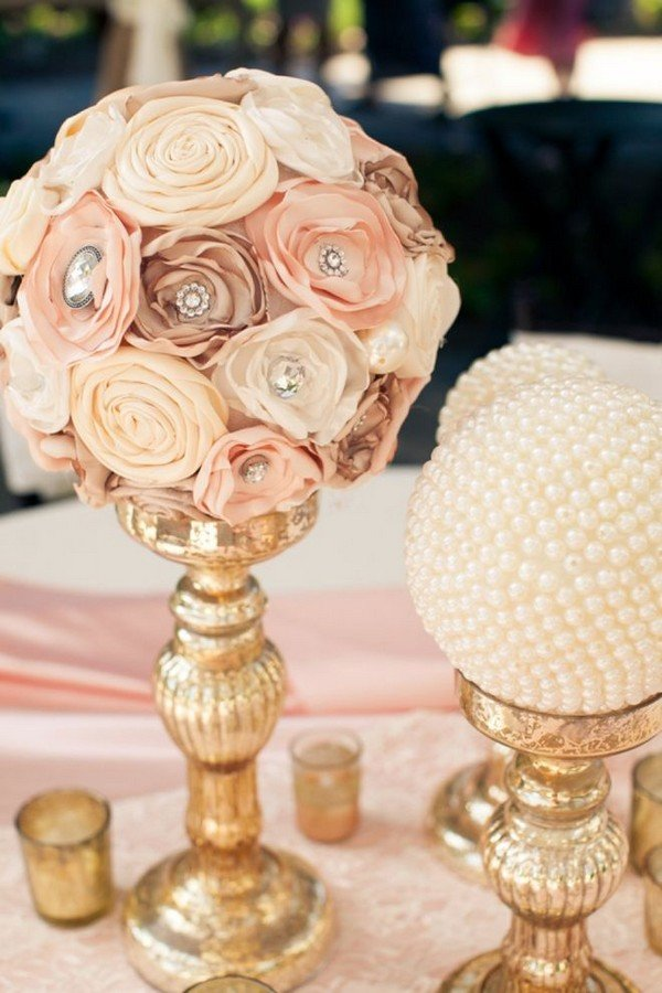DIY vintage wedding centerpiece ideas with floral and candlesticks