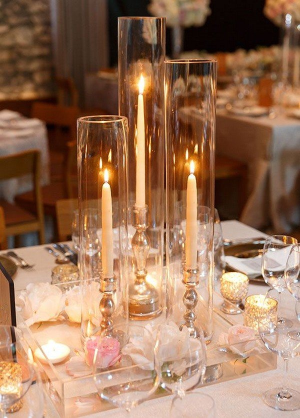 Elegant candle wedding centerpiece ideas for reception
