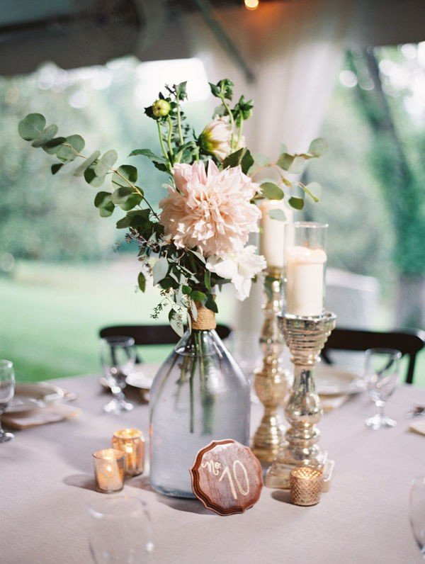 Flower glass garden wedding centerpiece with candlesticks