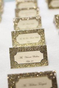 Glitter vintage wedding place cards