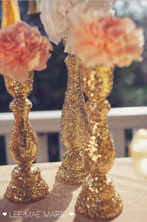 Glittery Candlestick Wedding Centerpieces