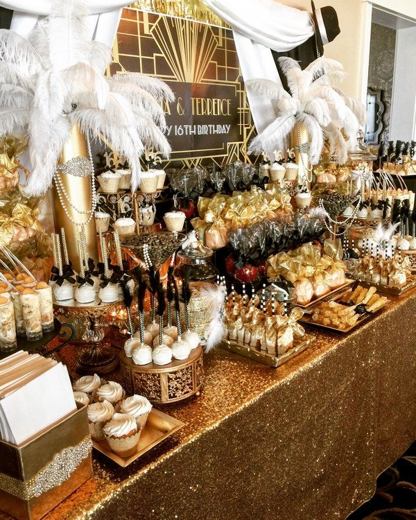 Great Gatsby Themed Vintage Wedding Candy Buffet