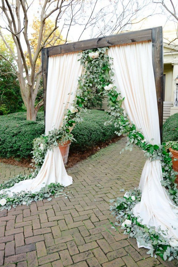 Green Floral Garland and Ivory Draping Wedding Ceremony Ideas