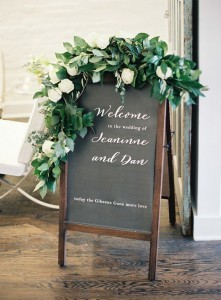 Hand lettered chalkboard with beautiful greenery wedding signs