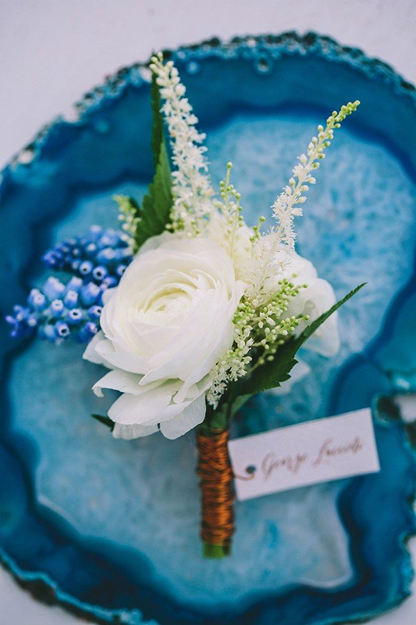 Indigo blue and copper wedding boutonniere ideas
