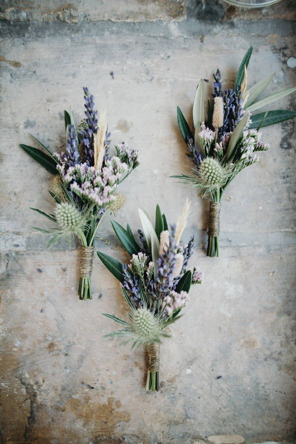Lavender & Thistle Wedding Buttonholes