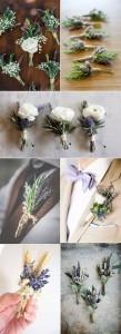 Lavender themed wedding boutonniere ideas