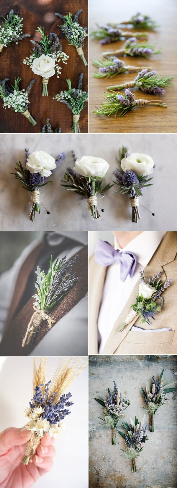 Lavender themed wedding boutonniere ideas