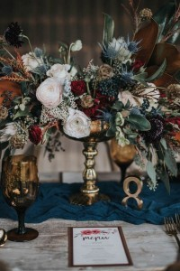 Moody-vintage fall floral wedding centerpiece ideas with candlesticks