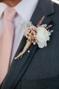 Pink Rose Gold Wedding Boutonniere Ideas