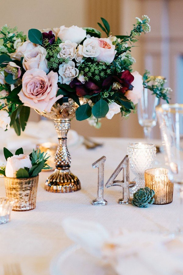 Vintage Gold Centerpiece with Candlesticks