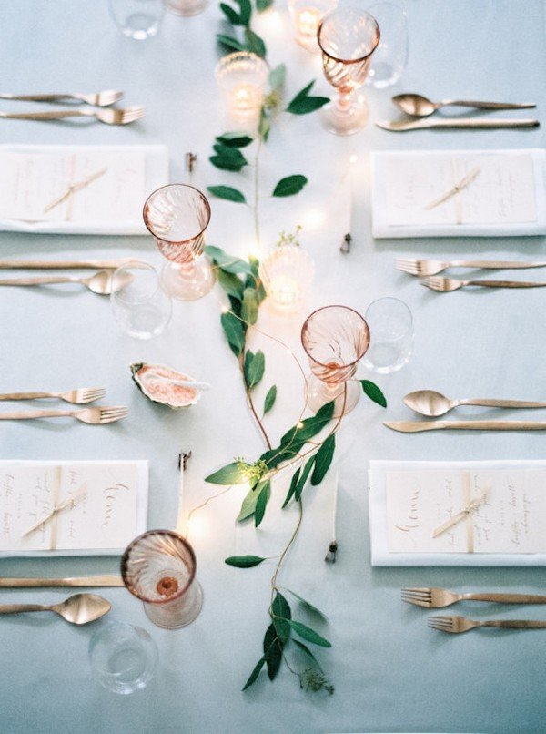 copper and green wedding reception ideas