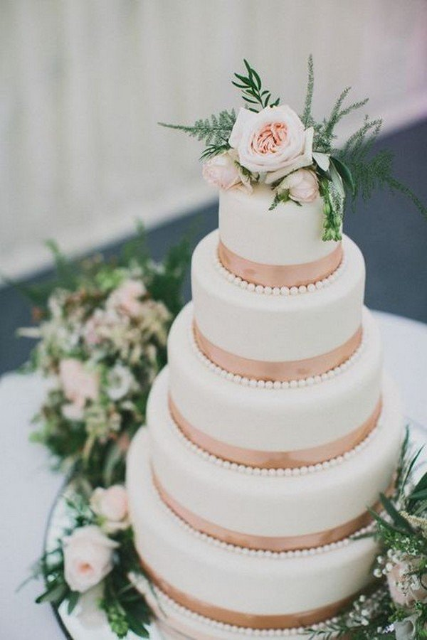 copper and white wedding cake ideas with a touch of green
