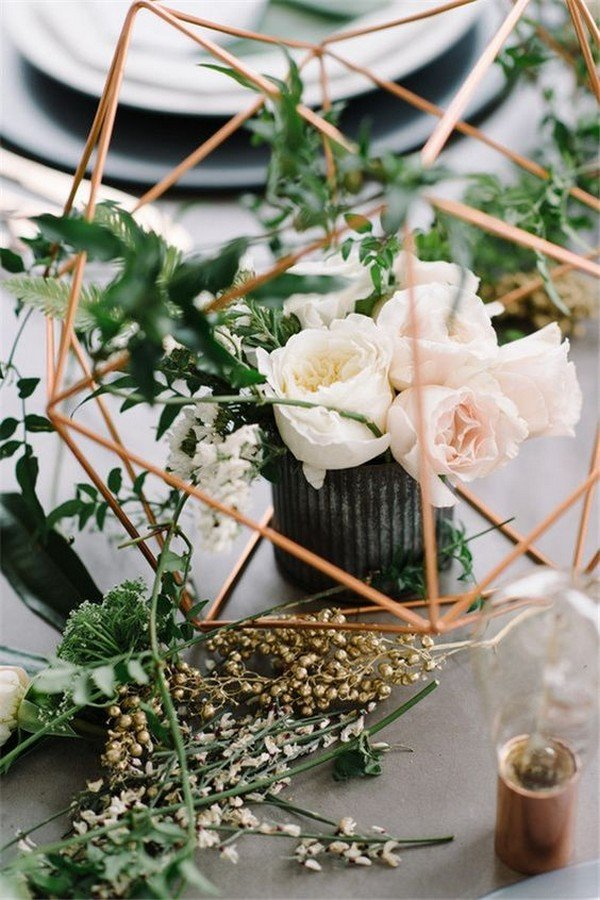 copper geometric modern industry wedding centerpiece ideas with greenery