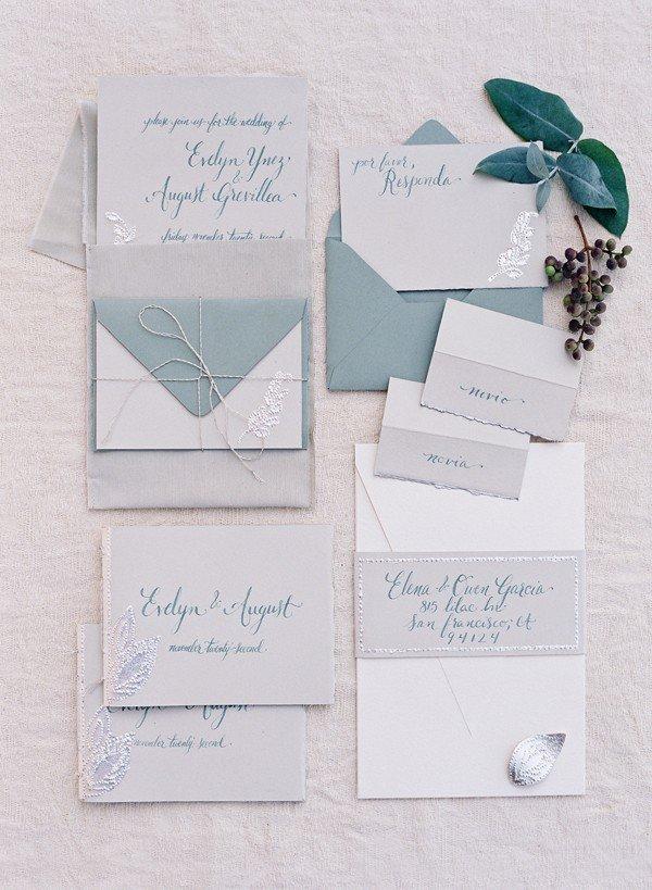 elegant green and grey wedding invitations