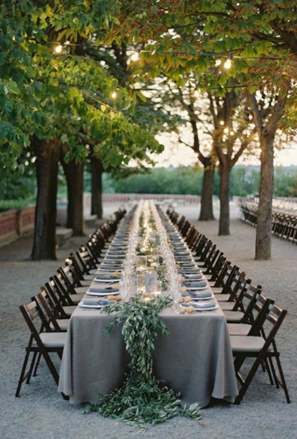 elegant green and grey wedding table setting for 2018 trends
