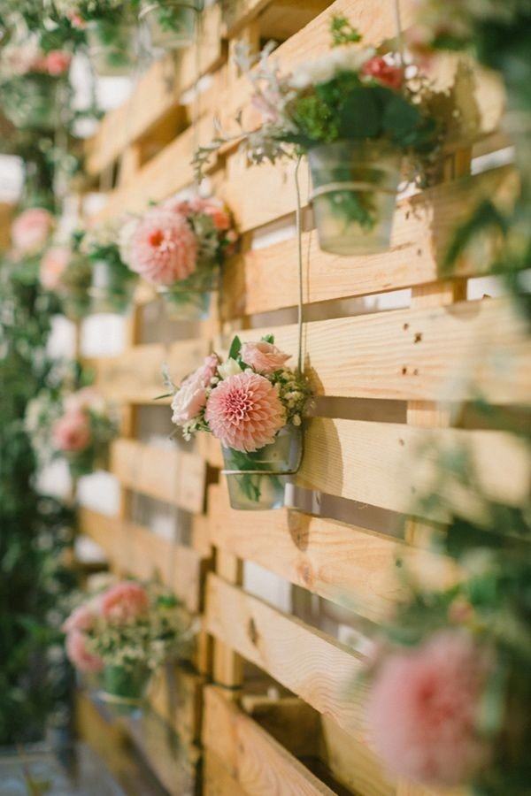 floral rustic wood pallets country wedding decoration ideas