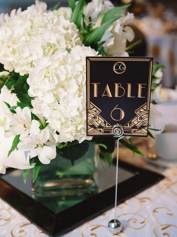 gold and black vintage great gatsby wedding table number ideas - Oh ...
