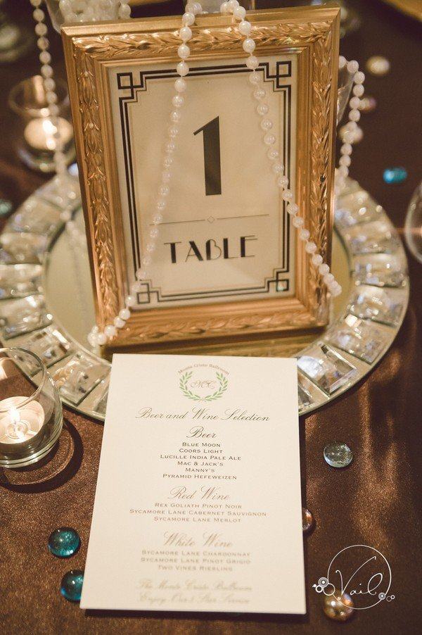 gold and black vintage wedding table number ideas - Oh Best Day Ever