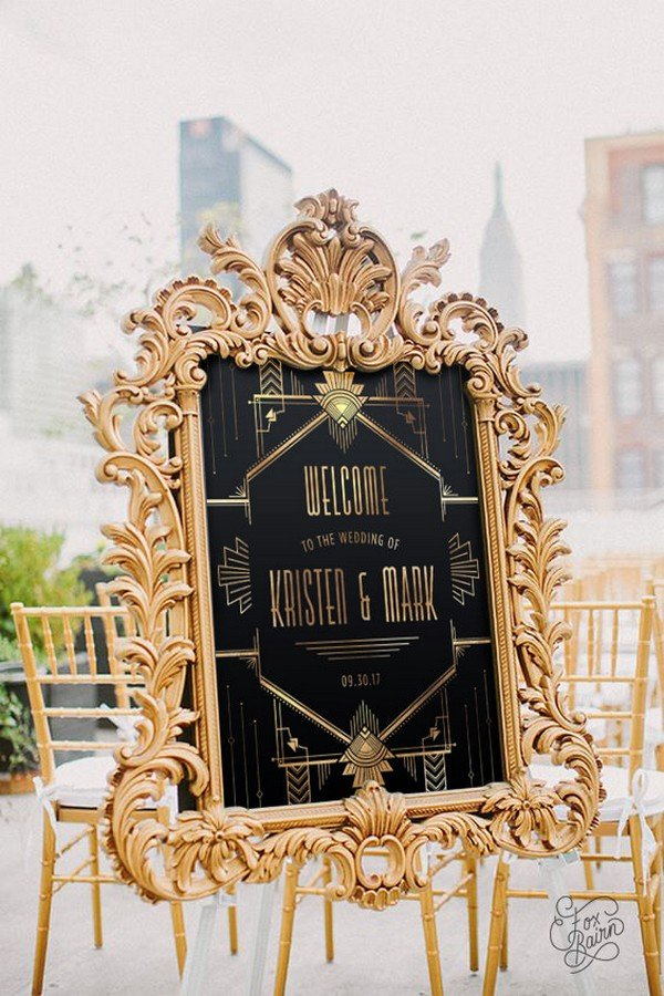 great gatsby themed gold and black wedding sign ideas