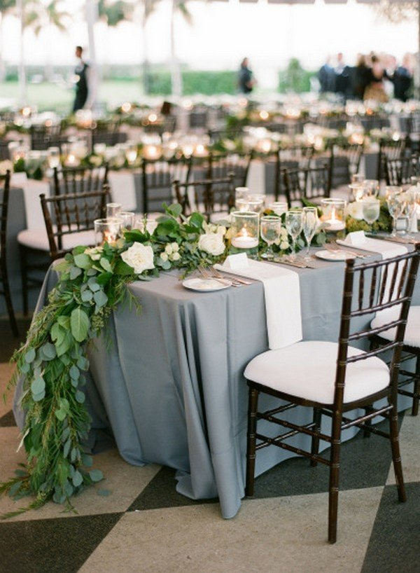 green and grey wedding reception ideas with garland and candles