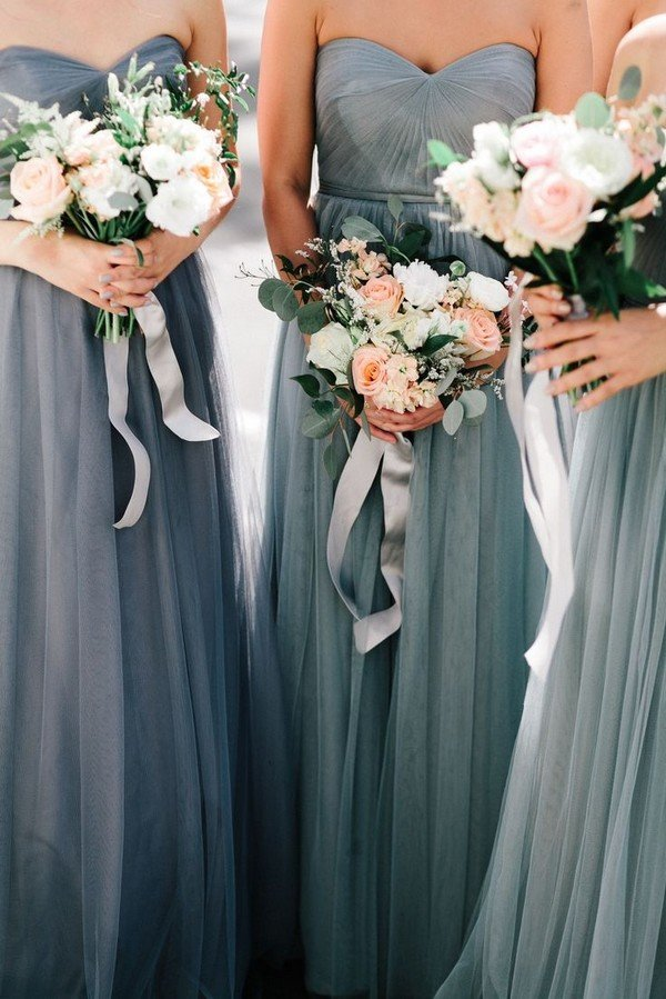green grey tulle bridesmaid dresses