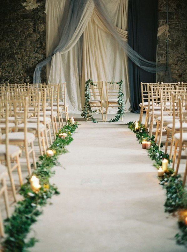 greenery and grey wedding aisle decoration ideas