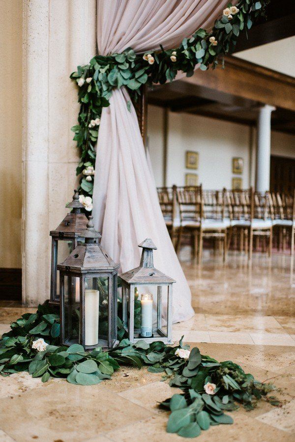 greenery and grey wedding ceremony decoration ideas