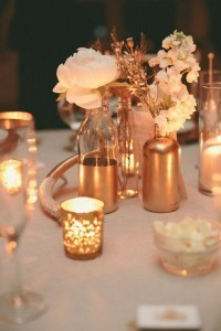 metallic copper wedding centerpiece ideas