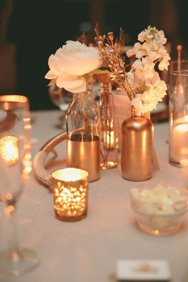 metallic copper wedding centerpiece ideas