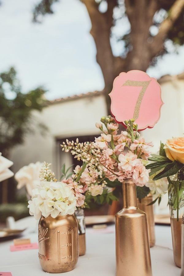 metallic copper wedding centerpieces