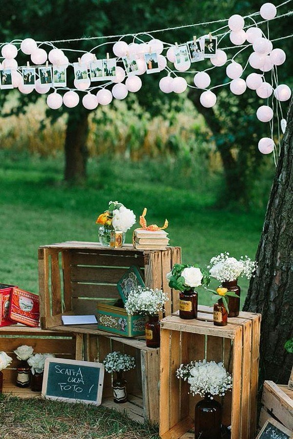 outdoor wedding decoration ideas with wood pallets