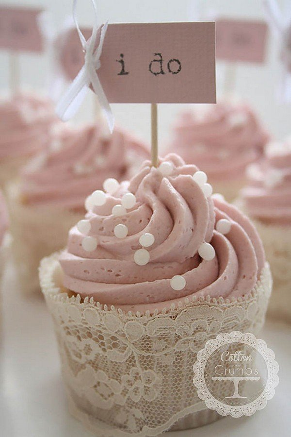 pink wedding cupcake with lace decorations