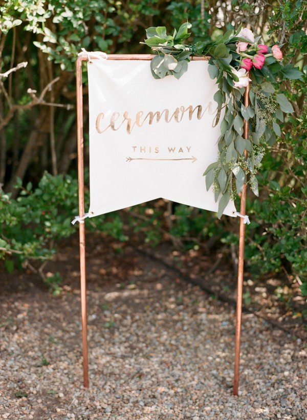 pretty green and copper wedding ceremony sign