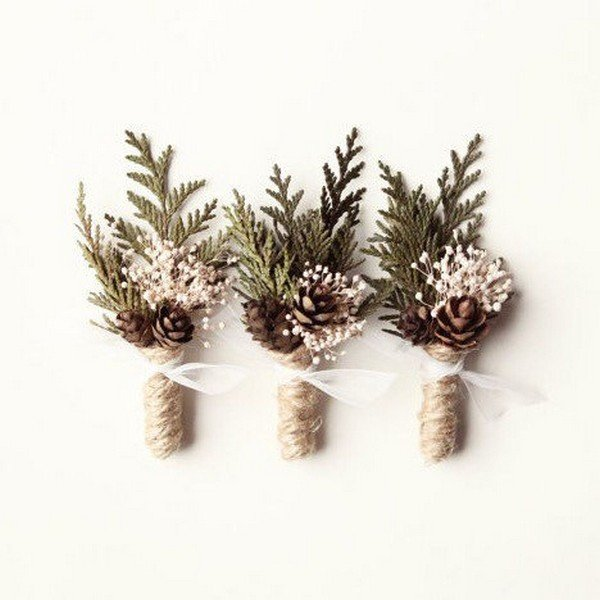 pretty winter wedding boutonniere ideas
