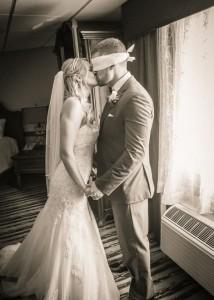 romantic first look wedding photo