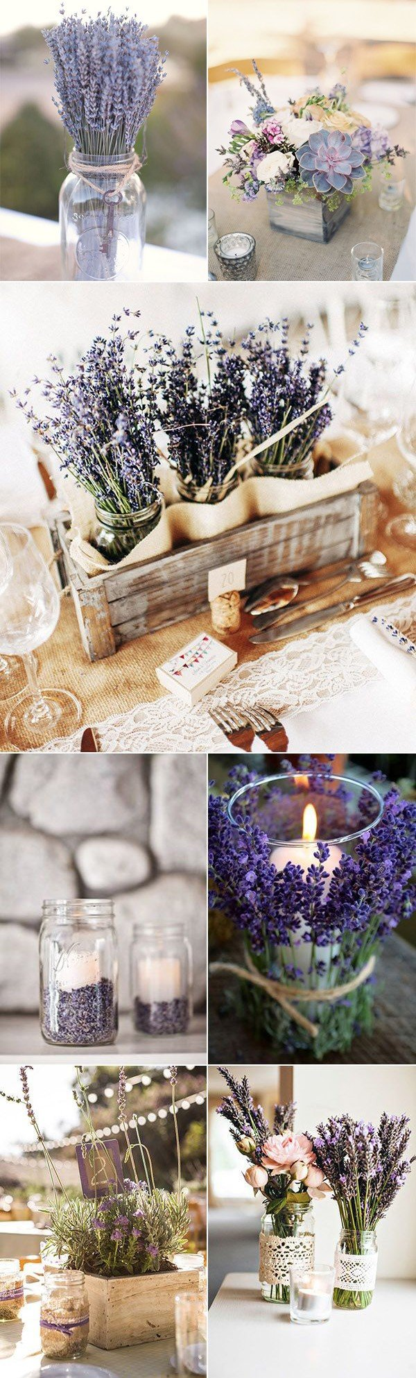 romantic lavender themed wedding centerpiece ideas