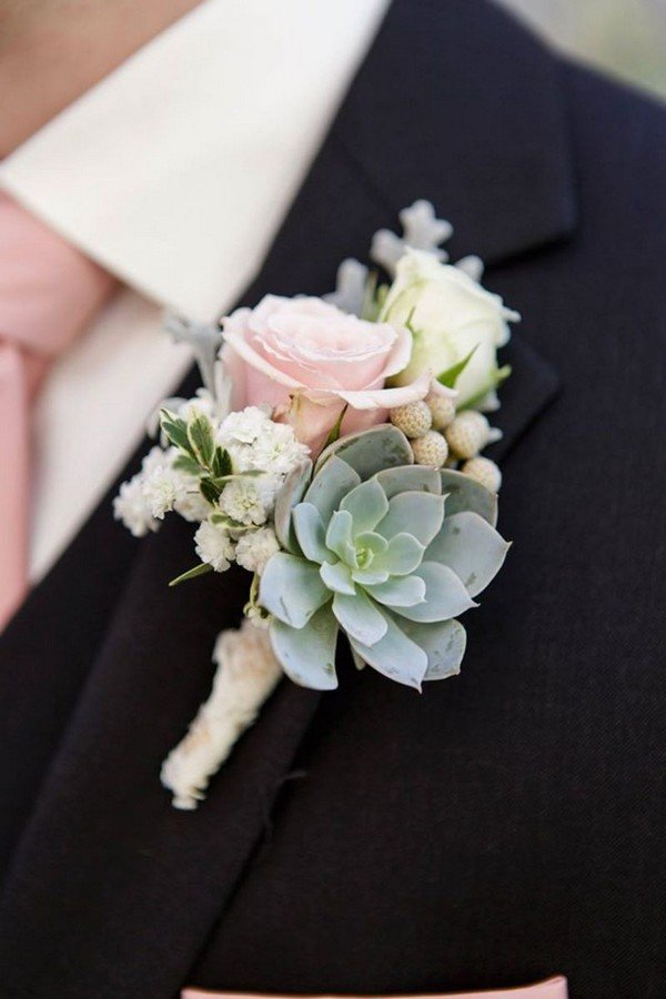 rose and succulent wedding boutonniere ideas