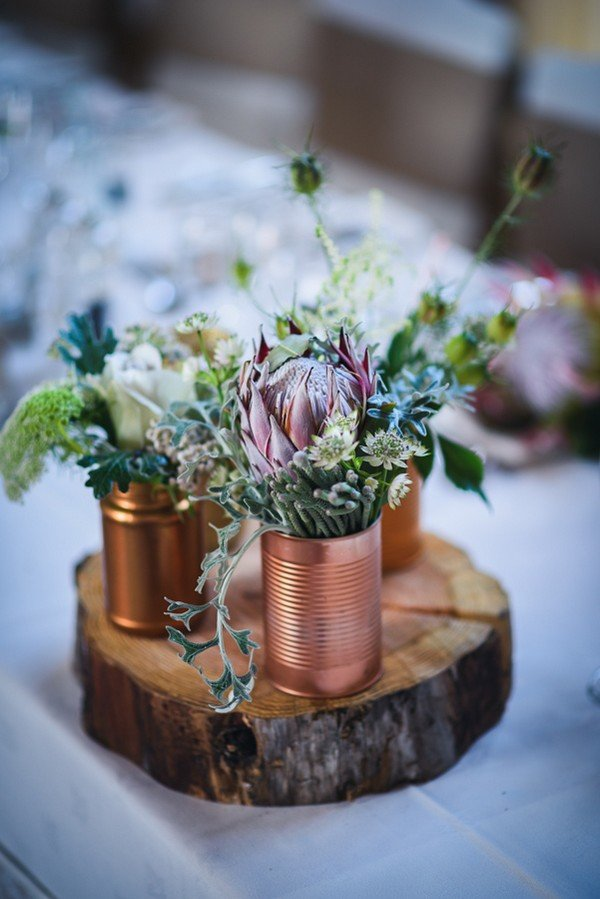 rustic wedding centerpiece ideas with copper