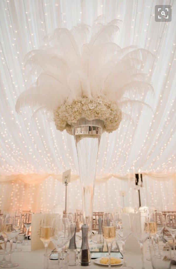 tall feather wedding centerpiece ideas for great gatsby wedding