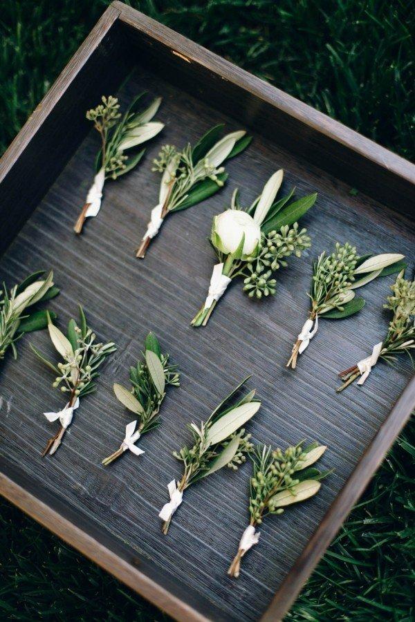 trending greenery chic wedding boutonniere ideas
