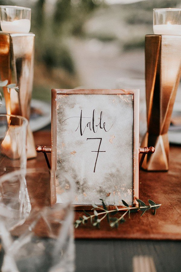 unique vintage wedding copper table number ideas
