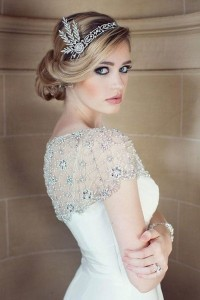 utterly chic vintage wedding hairstyle with headpiece