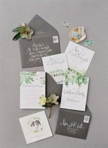 vineyard themed greenery and grey wedding invitation set