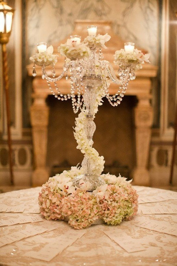 vintage 1920s wedding centerpieces with candlestick