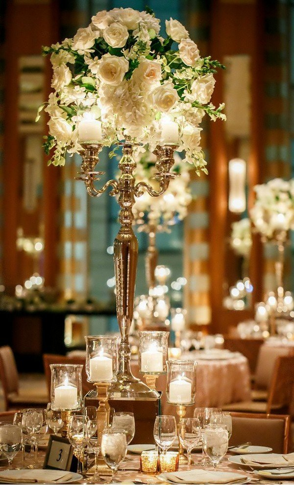 vintage floral wedding centerpiece with candlestick